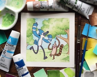 Rigby and Mordecai Regular Show Watercolor Print by Michelle Coffee
