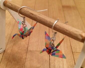 Handmade Japanese Pixel Crane Earrings