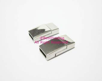 8mm magnetic clasp 8x2mm Flat leather clasp Rhodium plated leather clasps - 3pcs