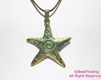 2sets Patina pendant starfish pendant Big sea star pendant Necklace pendant