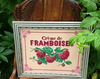 Vintage silver framed 'Raspberry Cream' Cross Stitched Canvas