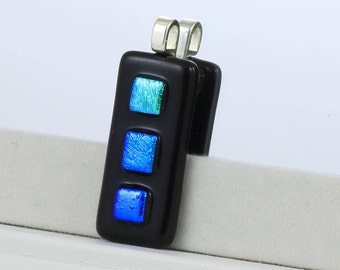 Blue/Green Textured Pendant, Fused Glass Pendant - Dichroic Glass Necklace - Dichroic Glass Jewelry - Fused Glass Jewelry. JBT373
