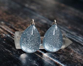 Grey earrings , glass earrings , silver drop earrings , silver sparkle earrings , faux druzy earrings