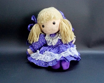 Vintage Singing Doll, Old Styrofoam Cloth Doll, Purple Dress Doll, Collectibles Doll, Unique Doll