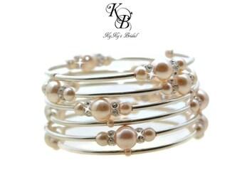 Bridal Bracelet, Bridal Cuff Bracelet, Sterling Silver Pearl Bracelet, Floating Pearls, Pearl and Crystal Bracelet, Wedding Bracelet