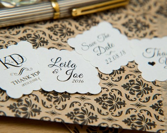 """100 White Pearlised 1.5 inch Square Shiny Stickers, Envelope Seals. Custom white Stickers. 1.5"""" Save the date stickers. Invitation Seals."""