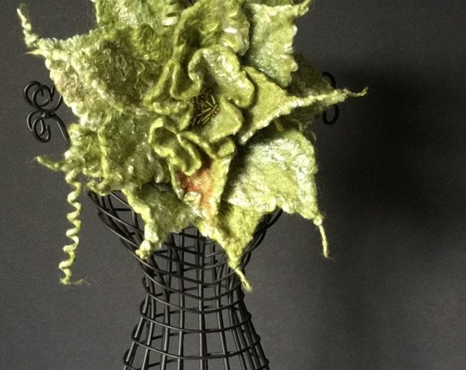 Merino Wool Silk Green Brooch Retro Style Wedding Floral Pin Evening Dress Hat Bridal Accessories Felt Scarf Flower Pin Personalized Gift