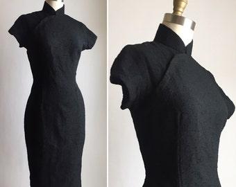 1940s black dress S/M ~ vintage wiggle dress