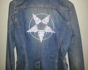 Pizza Pentagram Embroidered Denim Jacket/Blazer Custom WOMAN'S SM