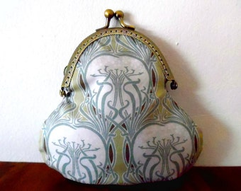 Art nouveau purse / pale green / mauve / white / flower tree / heart / cotton / lined / poppy print / gift / wallet / small clasp coin purse