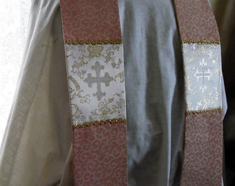 Special Buy! Pastel Peach Jaquard and Gold Cross Brocade Clergy Stole  Uniquely  Beautiful Anglican Catholic Lutheran Methodist Episcopalian