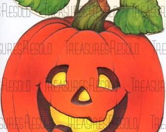 Retro Pumpkin Jack O Lantern Halloween Card #579 Digital Download