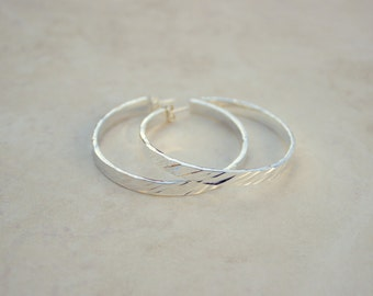 Size 4 Silver Diagonal Hammered Hoops, Argentium Silver Hoops, Silver Hoop Earrings, Handforged Silver, Everyday Earrings