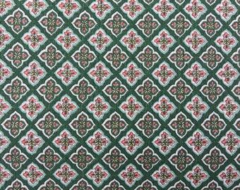 Barkcloth narrow width vintage 50s curtain drapery green