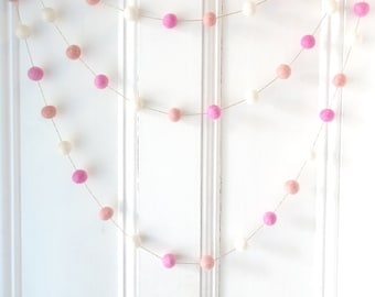 Pink and Gold, Felt Ball Garland, nursery decor, girl baby shower decorations, pink, first birthday, pom pom garland, baby girl, photo prop