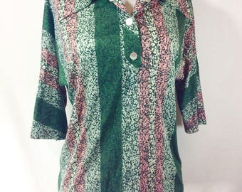 Womens Vintage Rockabilly Short Sleeve Salmon and Green Print Collared Top size M/L
