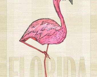 Florida Flamingo Metal Sign Coastal Décor, Beach, Tropical   JP1005