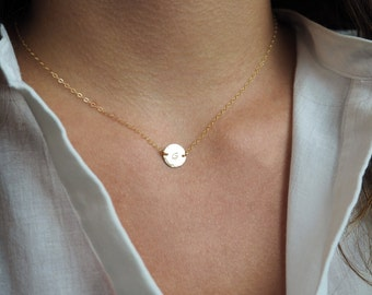 Gold Initial Necklace, Delicate Initial Necklace