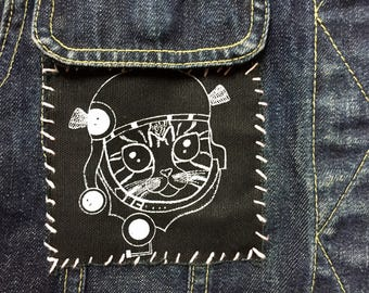 BW Cat Patch, Steampunk Kitten Sew on Patch, Cat Screen Printed Patch, Black Canvas Kitten Patch, Kitty Cat Patch for Jacket, Kitten Patch