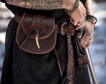 Leather Ulfhednar Yggdrasil Belt, Bag Kit