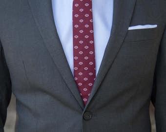 Burgundy Skinny Tie with White Detail