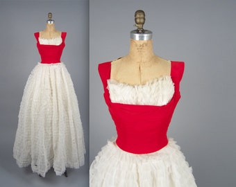 Vintage 1950s ball gown // 50s red velvet evening dress // Red and white cupcake dress