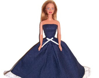 Fashion Doll Clothes-Navy/White Polka Dot Strapless Dress