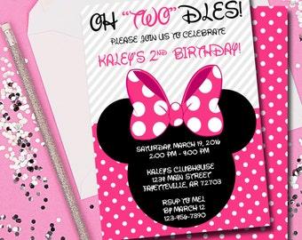 Minnie Mouse Birthday Invitation, Minnie Mouse, Birthday, Invitation, Oh Twodles, Birthday Invite, Mickey Mouse, Disney, Printable 5x7