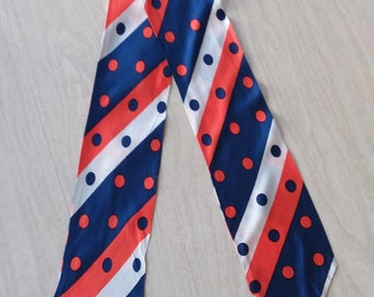 Vintage Woman's Necktie in Orange, Blue and White--Stripes and Polka Dots