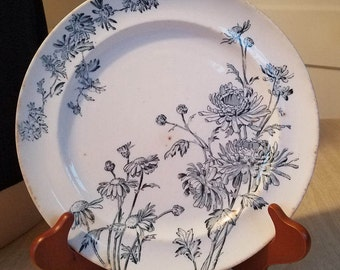 """Vintage George Jones and Sons Dinner Plate """"Chrysanthemum""""  R4 No 21391 Blue Gray on White Made in England"""