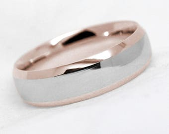 6mm 10k 14k 18k two tone gold wedding ring dome wedding rings matching band - Picture Of Wedding Rings