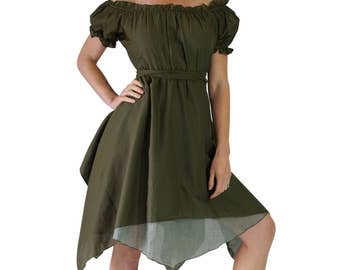 GYPSY DRESS SS Fern Green - Renaissance Costume, Pirate Dress, Medieval Gown, Wench, Steampunk, Lightweight Cotton, Empire Waist, Layered