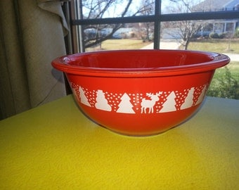 "Vintage Pyrex Promotional Clear Bottom 1L #322 ""Christmas Bowl"" RARE"