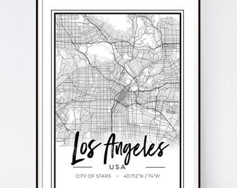 Map Print. Los Angeles Map. World Map. Fashion Illustration. Modern Home Décor.