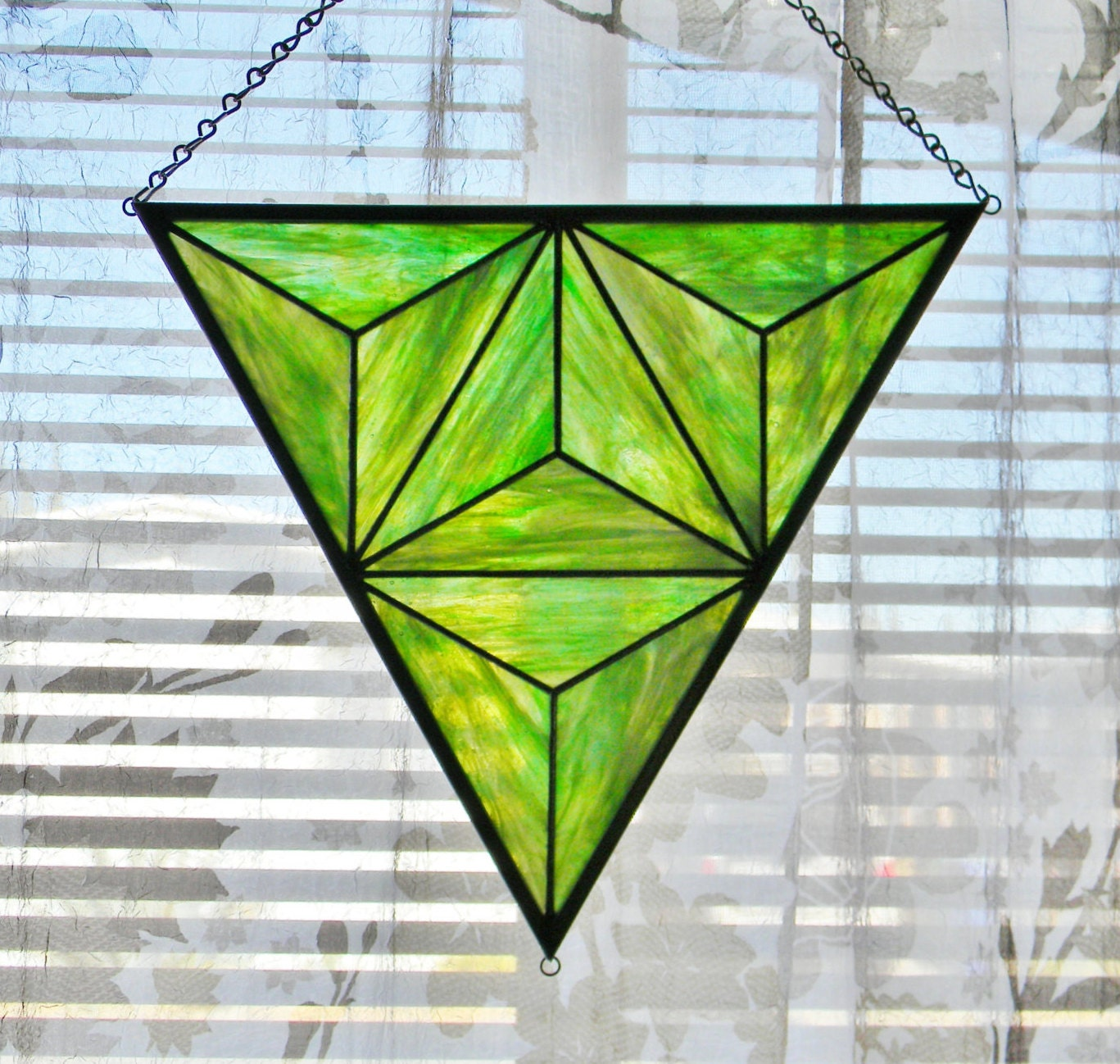 Geometric Stained Glass Window Panel in Iridescent Green