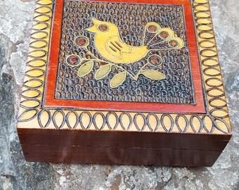 Sweet Bird Box~Polish Hand Carved & Painted Wood Box~Artisan Carving~Vintage Keepsake box~Hinged Jewelry Box~Polish Fok art~JewelsandMetals.