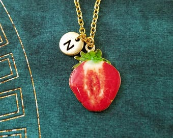 Strawberry Necklace Strawberry Jewelry Strawberry Slice Fruit Charm Necklace Pendant Necklace Initial Necklace Personalized Jewelry Gift