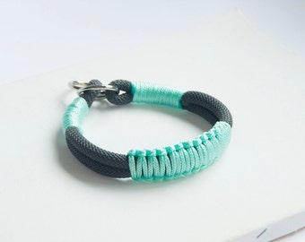Rope dog Collar. Chic Climbing rope Collar in Mint and Charcoal Gray