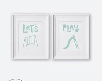 Let's Play Diptych Two Print Set, Modern Nursery Wall Art, Printable Nursery Art, Nursery Decor, Mint and White Kids Room Decor, Boys Room