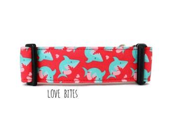 Boy Dog Collar, Girl Dog Collar, Shark Dog Collar, Beach Dog Collar, Nautical Collar, Shark Collar (Upgrade to Metal Buckle or Martingale)