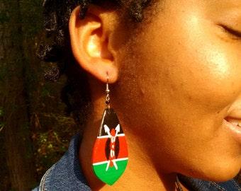 Kenya Flag Authentic Hand Painted Bone Earrings