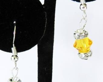 Sterling Silver Pierced Earrings, Yellow Swarovski Drop Earrings, Swarovski Dangling Earrings, Rhinestone Earrings, Swarovski Jewelry