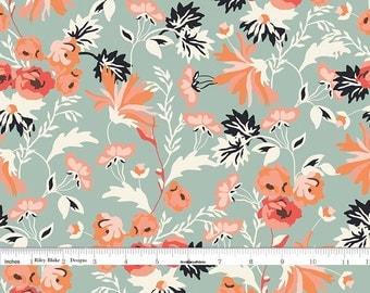 Dusky Mint, Orange, Peach Floral Fabric, Floral Quilt Fabric, Riley Blake Apricot & Persimmon C4900 Main Mint, Carina Gardner, Cotton