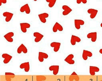 Red Hearts Fabric, Red & White Quilt Fabric, Windham Bright and Pastel Basic 31640-20, Valentines Day Quilt Fabric, Valentine Fabric, Cotton