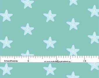 Aqua Starfish Fabric, Studio E Mermaid Dreams 3752 66, Lucy Crovatto, Starfish Quilt Fabric, Nautical, Ocean, Sea, Beach Fabric, Cotton
