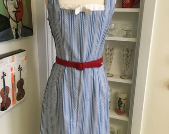 1950s Vintage Blue & White Cotton Sleeveless Day Dress