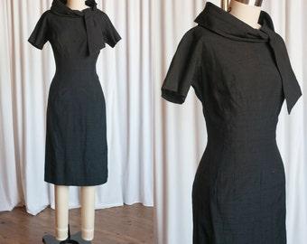 Class Act dress | vintage 50s dress | 1960s black dress | black 60s sheath dress | rolled tie collar | 1950s vintage lbd