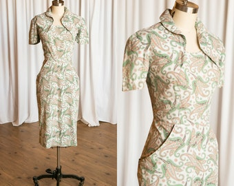 County Dorset dress | vintage 50s dress | 1950s cotton dress | 50s paisley print dress | 1950s fitted wiggle dress | green paisley 50s