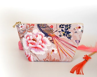Pink makeup bag, cosmetic zipper pouch, oriental print, floral zipper bag