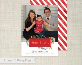 Floral Watercolor Christmas Photo Card  .   Holiday Card  .  Christmas Photo Card  .  Christmas Card  .  Printable Card